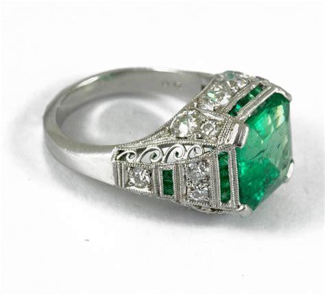 exceptional deco emerald platinum ring at 1stdibs