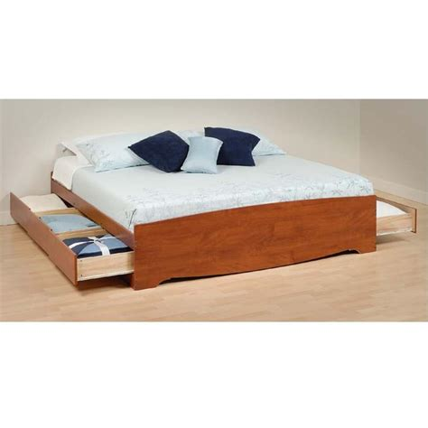 platform bed king size prepac king size platform storage bed cherry cbk 8400