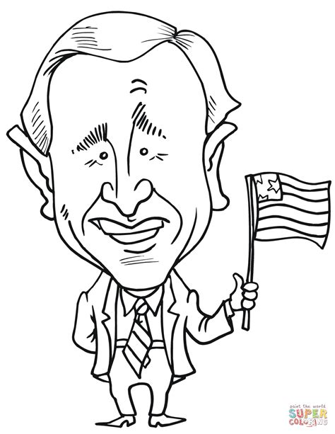 George W Bush Coloring Page by George W Bush Caricature Coloring Page Free Printable