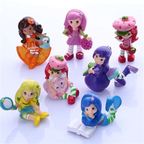 Figure Mainan Strawberry Shortcake Family 7pcs strawberry shortcake cupcake cake toppers pvc figure doll mini boys toys toys