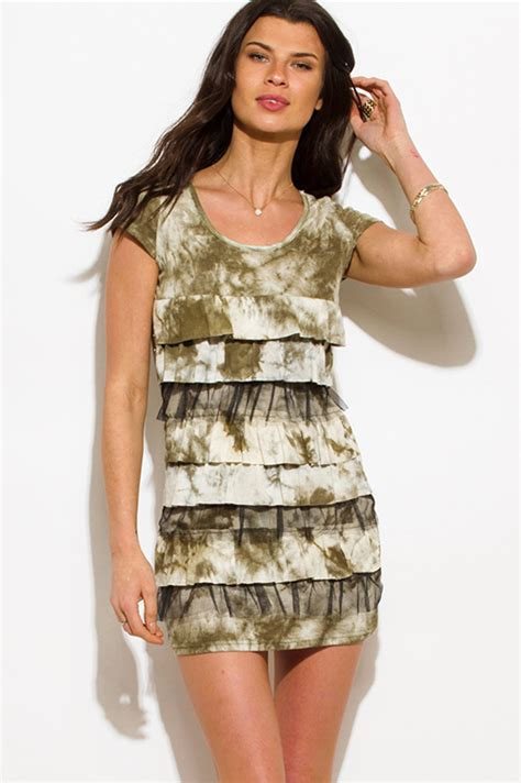1015 Lorein Abstract Layer Mini Dress shop olive green tie dye cap sleeve layered tiered ruffle boho tunic mini dress