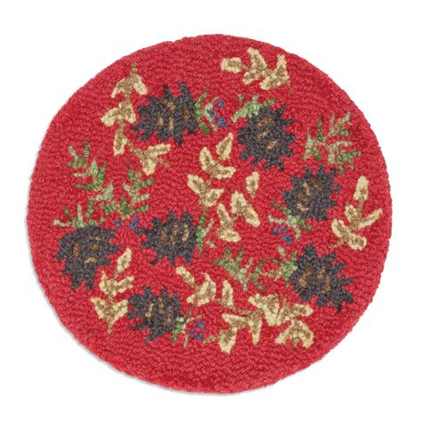 ruby pinecone hooked chair pad