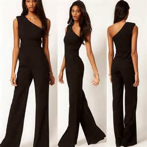 Fashion black one shoulder rompers womens jumpsuit 2015 sexy slim one