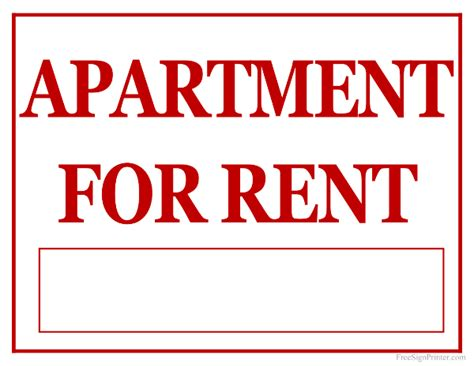 printable house for rent sign printable apartment for rent sign
