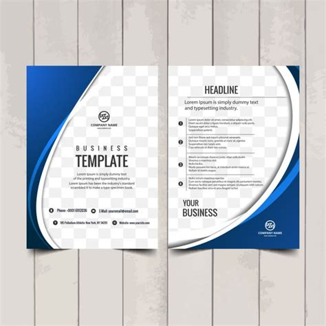 free catalogue template blue wavy brochure template vector free
