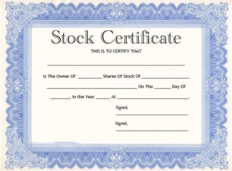 20 Stock Certificate Templates Back Of Stock Certificate Template