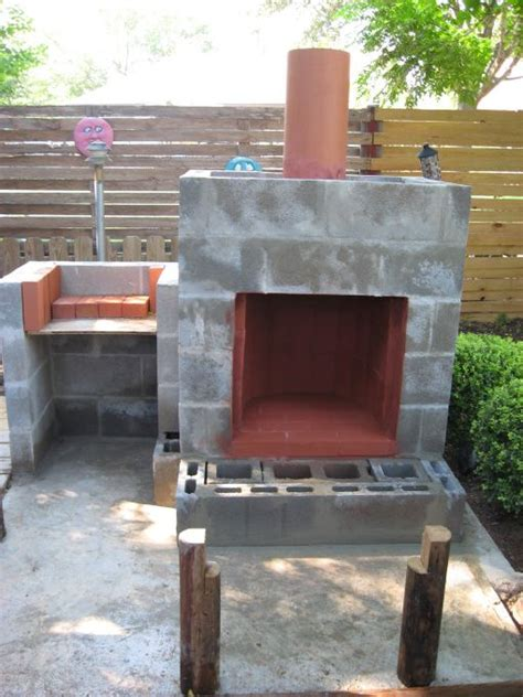 Concrete Block Fireplace decorate cinder block concrete foundation and set posts
