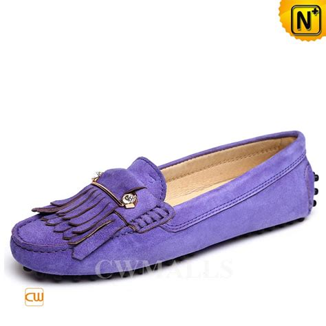 cwmalls 174 womens leather fringe driving loafers cw306029