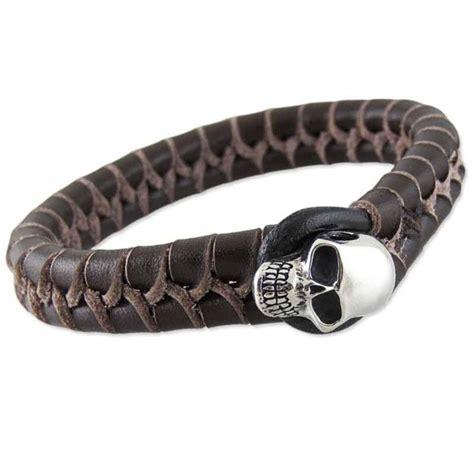 Skull Woven Bracelet chunky brown woven leather skull bracelet leather