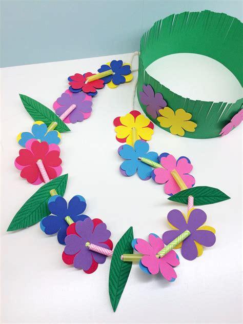 printable lei flowers craft for kids hawaiian lei grass crown sanat