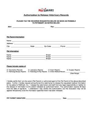 petsmart printable job application pdf fillable online authorization to release veterinary