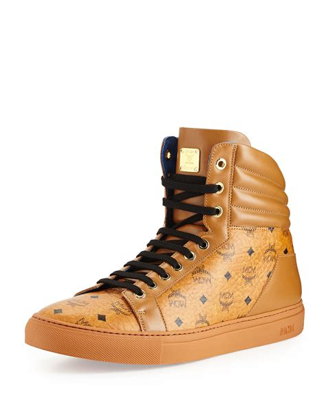 mcm mens sneakers lyst mcm monogrammed high top sneaker in brown for