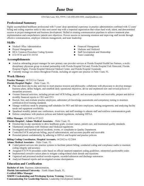 practice manager resume exles professional practice manager templates to showcase your