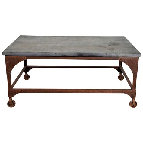 Iron Coffee Table Industrial Belgian Blue And Iron Coffee Table At 1stdibs
