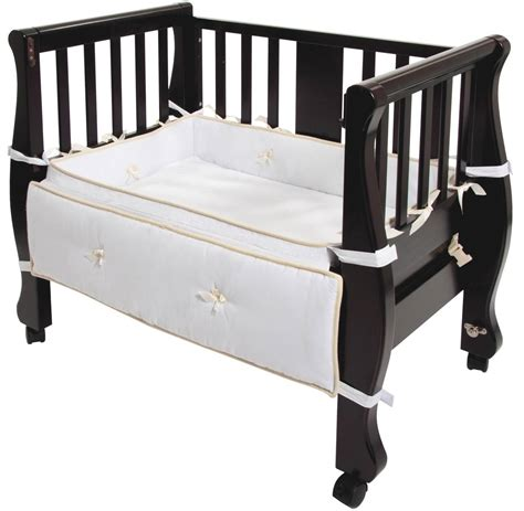 bassinet attaches to bed arm s reach arms reach sleigh bed co sleeper 174 espresso