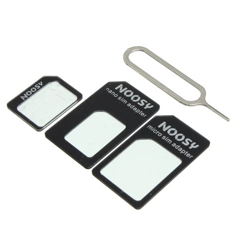 Murah Noosy Nano Sim Adapter For Micro Nano Sim Adapter Black noosy nano standard micro sim card adapter converter for iphone samsung htc lg ebay