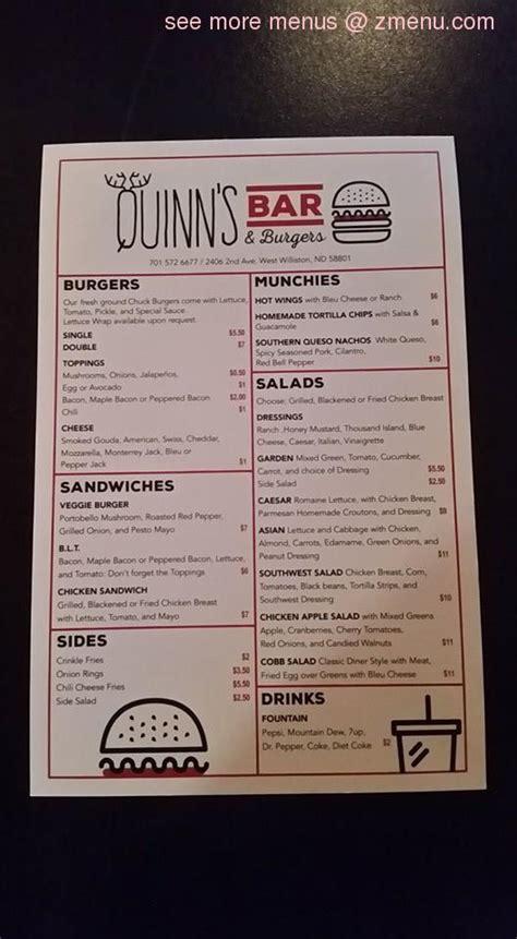 menu  quinns bar burgers restaurant williston