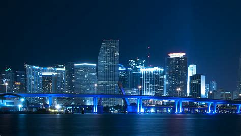 miami city skyline at night time lapse of the miami skyline at night long version