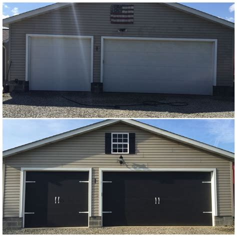 before and after garage doors painted the garage doors black spray painted black carriage door