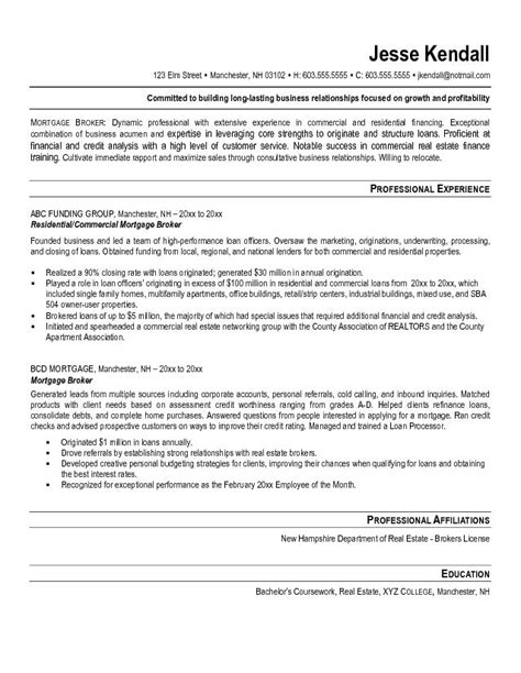 Mortgage Loan Officer Resume by Mortgage Broker Resume Exle Tammys Resume