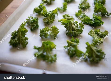 Crunchy Green Kale Ready Stock kale chips ready for baking into kale chips on a baking