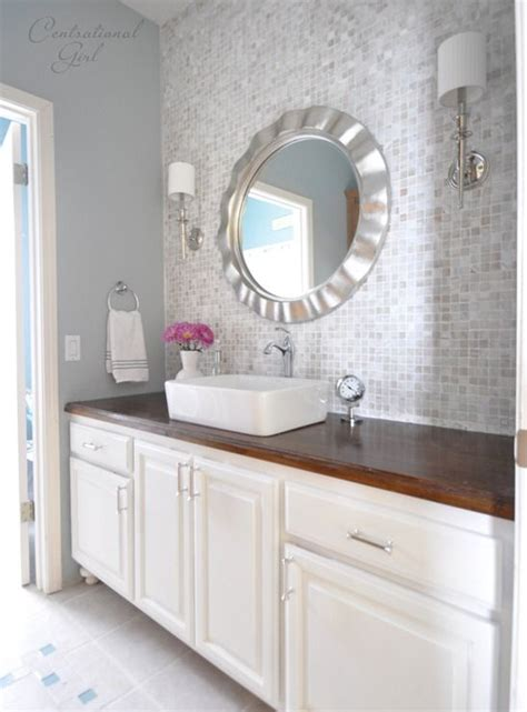 wallpaper ideas bathroom vanity wall makeover