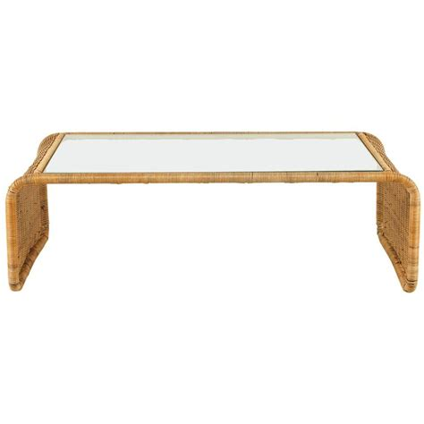 Rattan And Glass Coffee Table Rattan And Glass Waterfall Coffee Table At 1stdibs