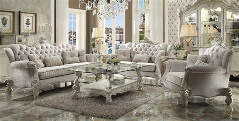 Versailles Traditional Ivory Velvet Formal Living Room Set Velvet Living Room Furniture