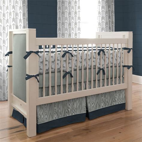 deer crib bedding set navy and gray deer crib bedding carousel designs