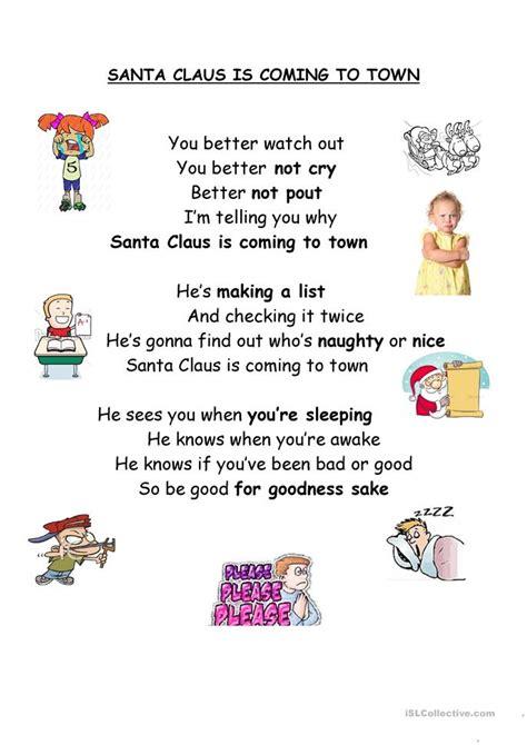 printable lyrics santa claus is coming to town santa claus is coming to town worksheet free esl
