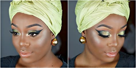 Cat Eye Afrika princess makeup tutorial green and black cat eye