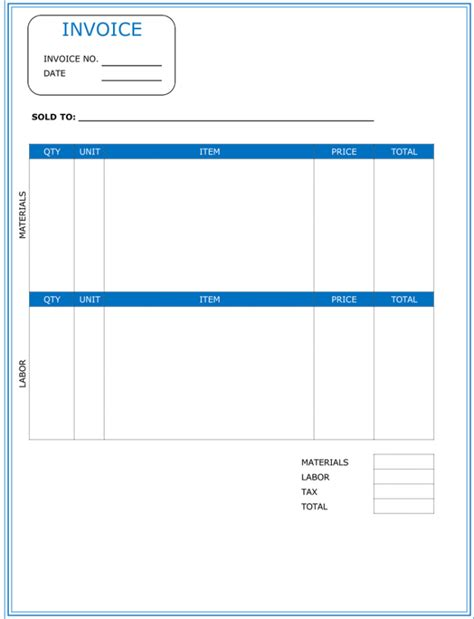 invoice templates free contractor invoice template 6 printable contractor invoices