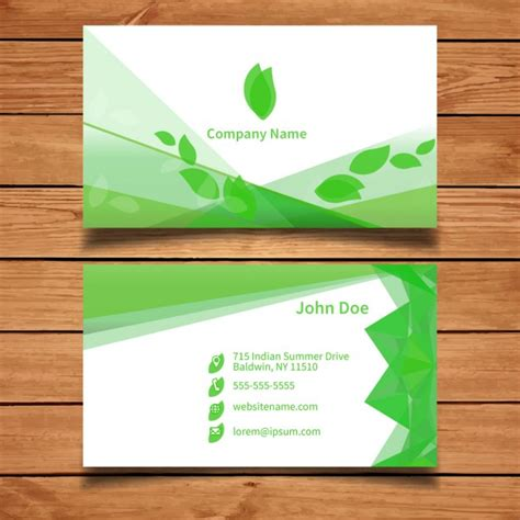 Green Business Card Template Vector by Green Business Card Template With Leaves Vector Free