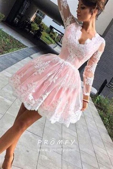white lace appliqued pink lining cute short puffy cocktail