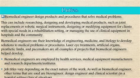 Biomedical Engineering Duties by Biomedical Engineering Duties 11 Biomedical Engineer Duties Biomedical Engineers Duties