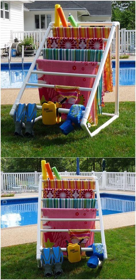 best 25 towel rack pool ideas on pvc towel