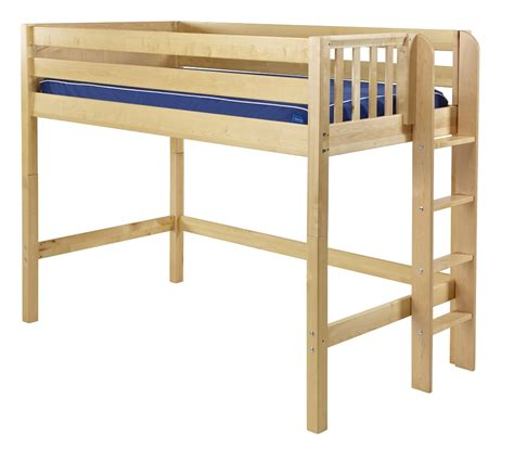 Maxtrix Mid Loft Bed W Straight Ladder On End Twin Size Loft Bed