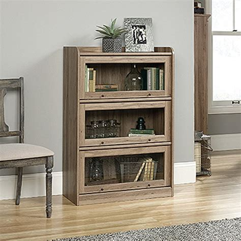 sauder barrister bookcase 4 glass door sauder barrister salt oak 3 door bookcase 422787