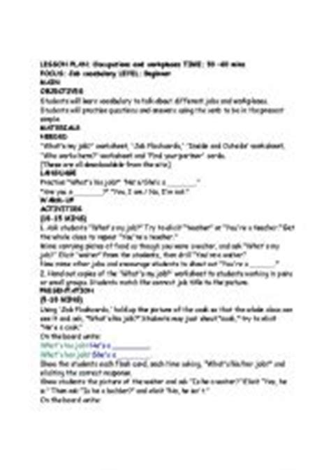 home and careers lesson plans english worksheets lesson plan occupations