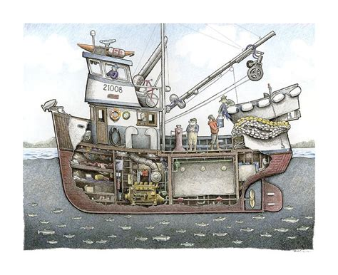 norwegian fishing boat engine cutaway drawing of a fishing boat with every detail down