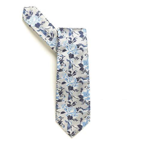 Floral Print Tie duch sky blue bird in floral print tie
