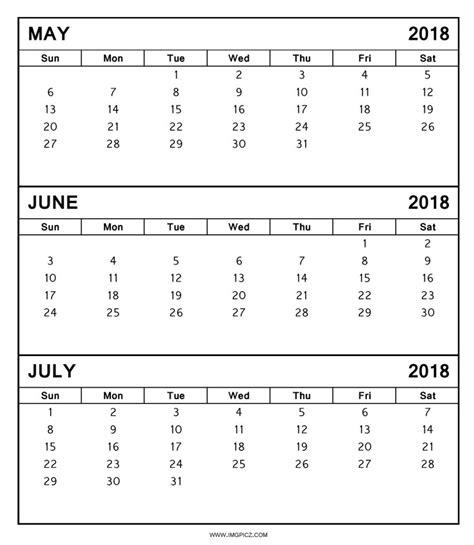 Calendrier 2018 Printable May June July 2018 Calendar Printable Template 2018
