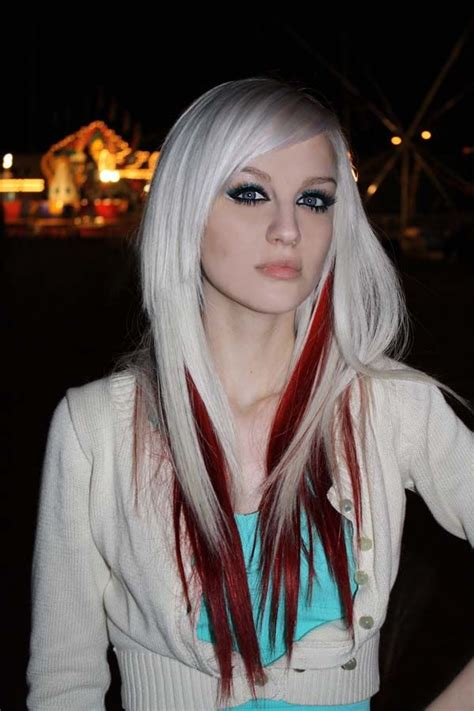 blone hair with pink streaks platinum blonde hair with red streaks beauty pinterest