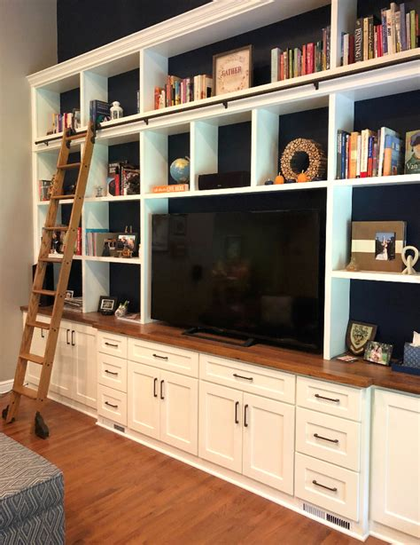 custom bookcase and rolling ladder jefferson pa