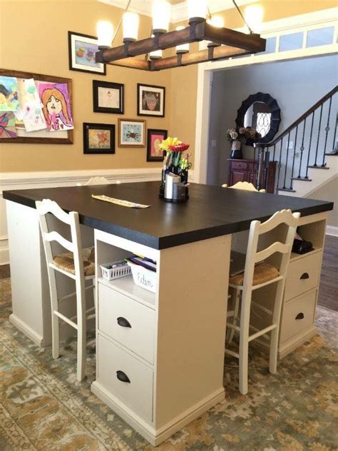 homework desk ideas crafting and homework station instead of a formal dining