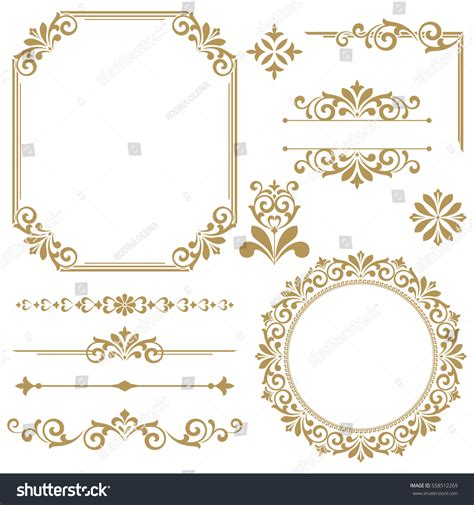 vintage menu design elements vector set vintage vector set floral elements design stock vector
