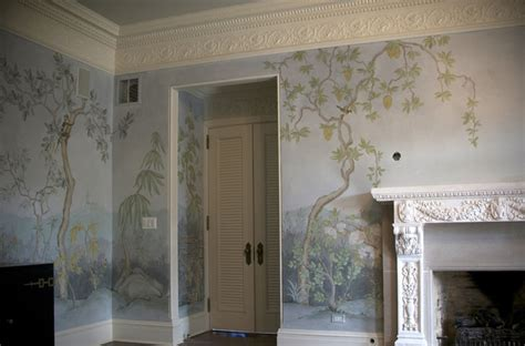 chinoiserie landscape mural traditional dining room