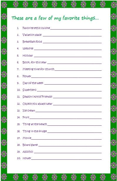 favorite things list template best photos of favorite things list my favorite things