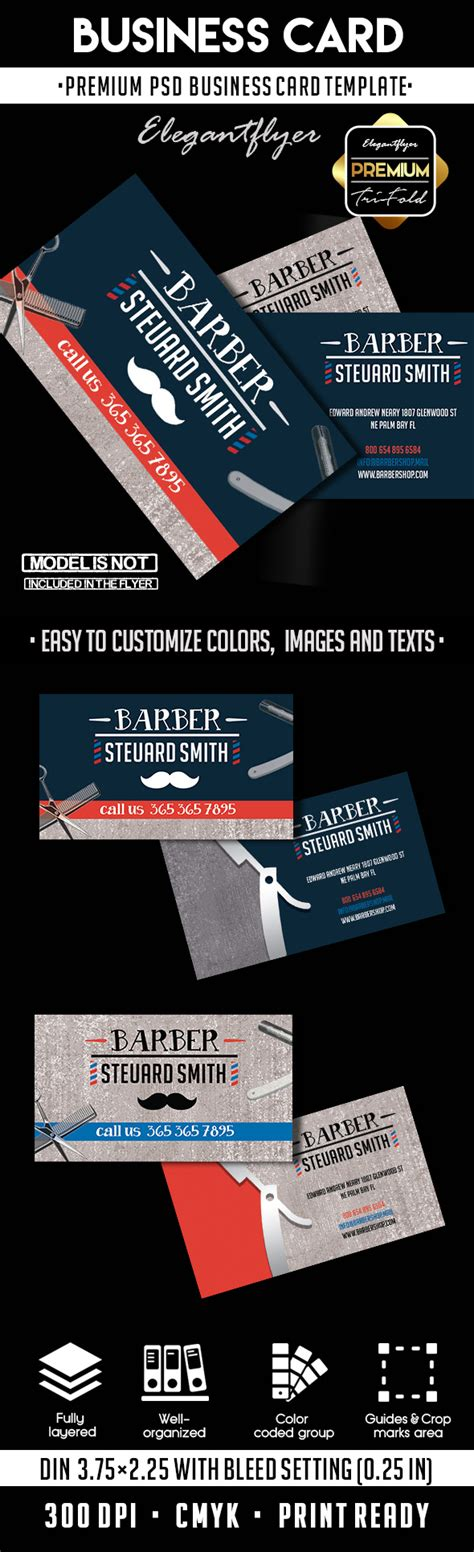 Barber Shop Premium Business Card Psd Template By Elegantflyer Free Barber Business Card Template