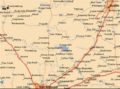 fredericksburg texas map map of the area